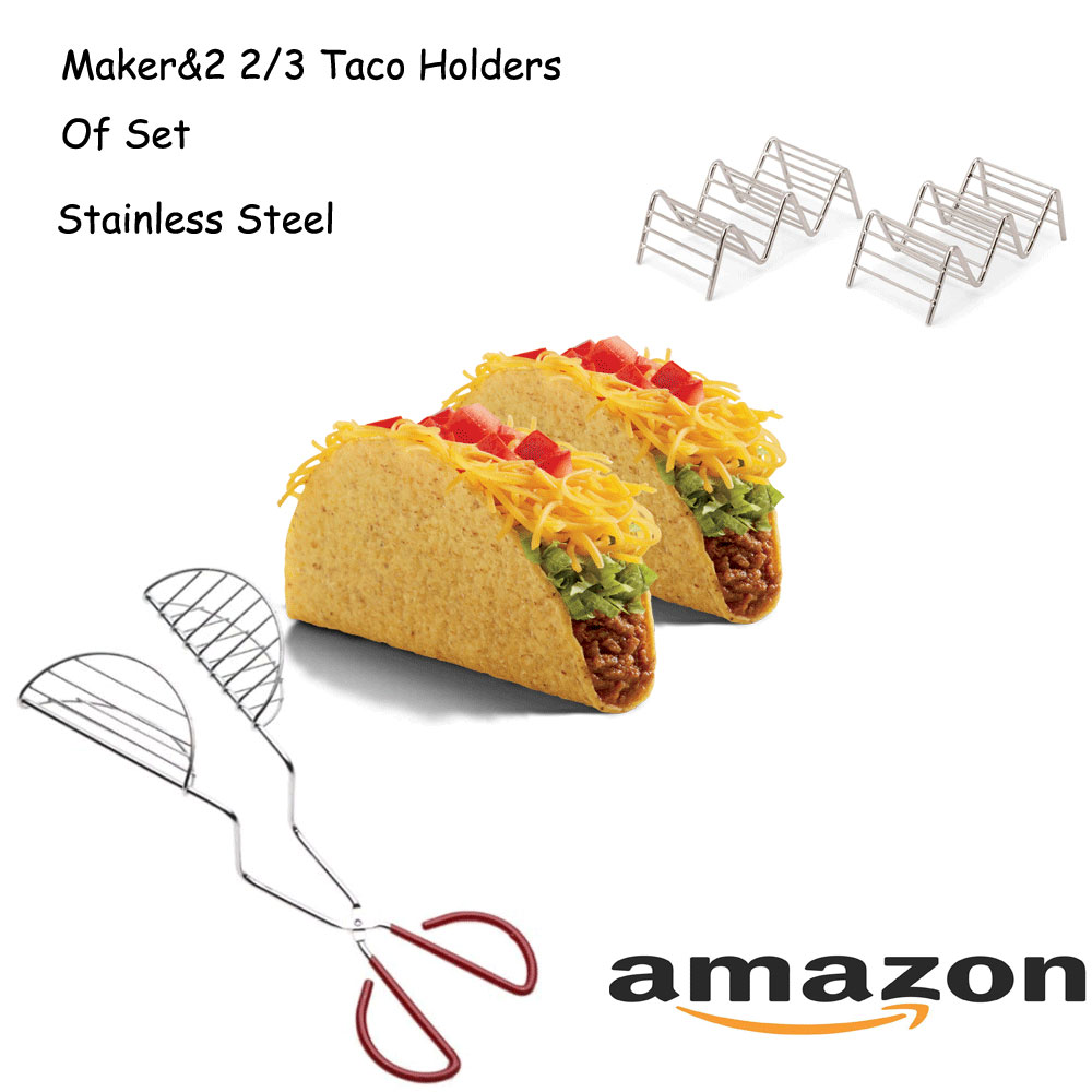 Stainless Steel Taco Cooking Maker With Taco holder Of a Set To Sell Better In Amazon