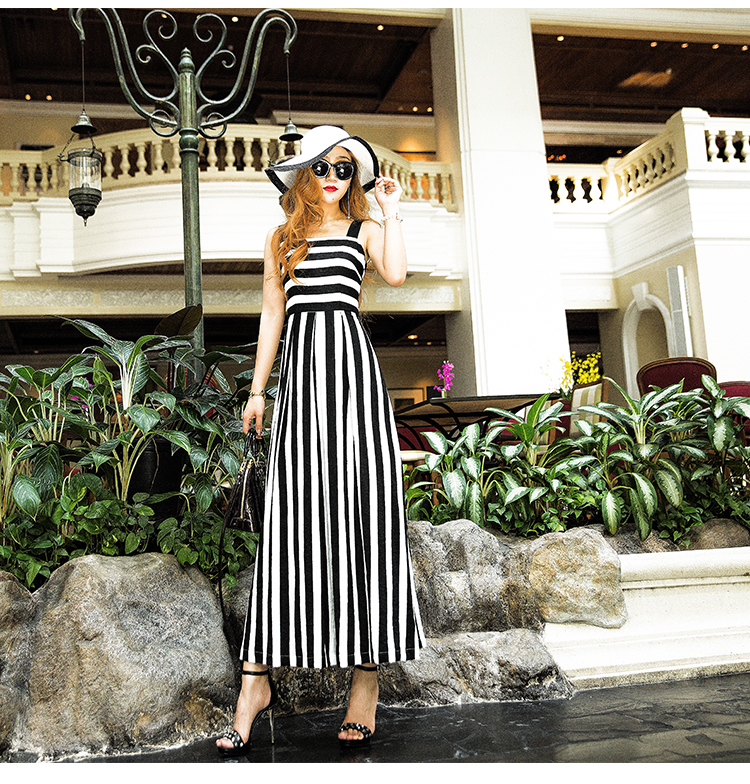 linen womens dress black and white stripe vest maxi dress 2017 casual style for summer