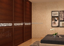 3 panel louvered wooden wardrobe cabinet closet sliding doors