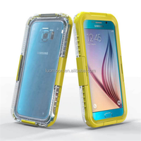 Silicone + plastic phone waterproof case for samsung galaxy note s3 4 5 6 edge