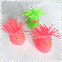 Babies Products Puffer Ball Led Light Flashy Cute Duck TPR Animal Toys