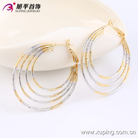 90836-2016 xuping latest tops designs women multicolor plated bulk hoop earrings