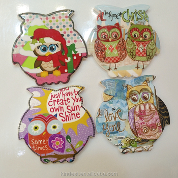 Animal shape ceramic cup mat, Owl printing ceramic mug mat cheap