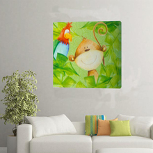 Simple handpainted cartoon monkey parrot modern number animal art oil painting for chidren room