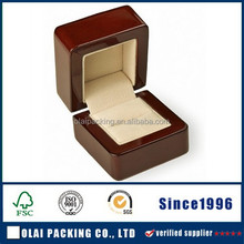 Small Wood Ring Box with Velvet Interior