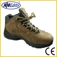 NMSAFETY rubber cement sole safety shoes with steel toe cap brown color crazy horse leather high quality