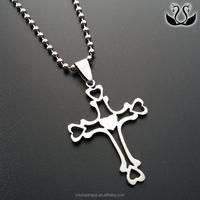 Stainless Steel Heart Cross Pendant Wholesale Christian Jesus Jewelry