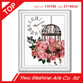 carnation and cage flower cross stitch embroidery wall decoration