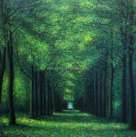 100% Handmade beautiful green sun across forest landscape oil painting on canvas