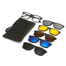 Clip on Sunglasses 5 in 1 Eyeglasses With Clip on Magnetic Driving Sunglasses Optical Glasses