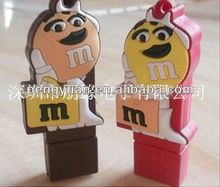 OEM promotional gift PVC Dove MM chocolate Pea USB pendrive with logo