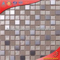 China Foshan Stainless-Steel Mix Crystal Glass maroon roofing tiles Glass Mosaic Tiles