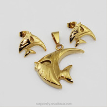 Jewelry Settings Without Stones with Stainless Steel 18k Goold Fish Pendants and Charm Earrings