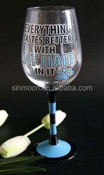 colored hand painted stem wine glass