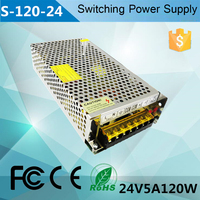 single output smps 110v 220v ac 24v 5a dc regulated led switching power supply