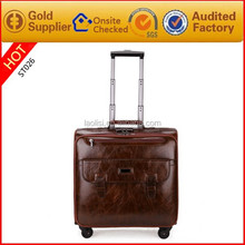 import and export faux leather PU trolley laptop travle bag luggage factory in guangzhou china