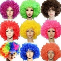 Clown Wigs Football Fans wig Colorful Afro Wig for color run