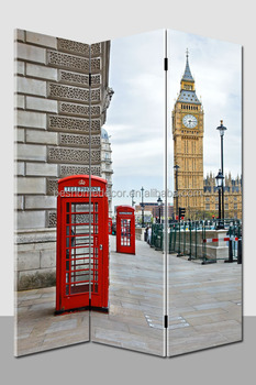 Popular London Street Canvas painting folding Room screen&dividers home decoration