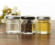 1.5oz mini glass jam jar,clear hexagon honey glass jar with gold lid