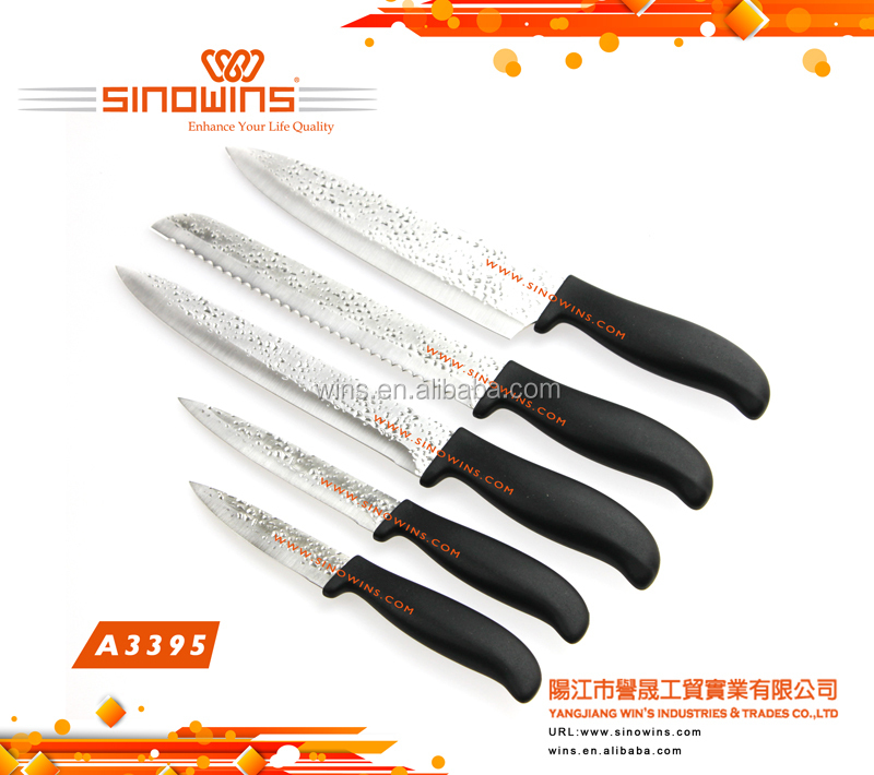 Pattern Stamped Blades Air-flow Dimples Stamped Blades Stainless Steel Kitchen Knife Set