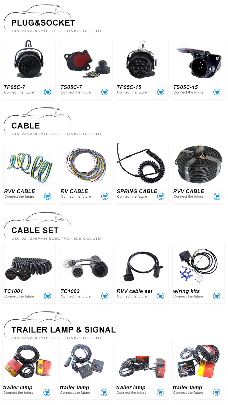 2019 Spiral Coiled Wire Cable/Flexible Spring Cable/Spring Electric Cable/7 Cores Truck Spare Trailer Parts