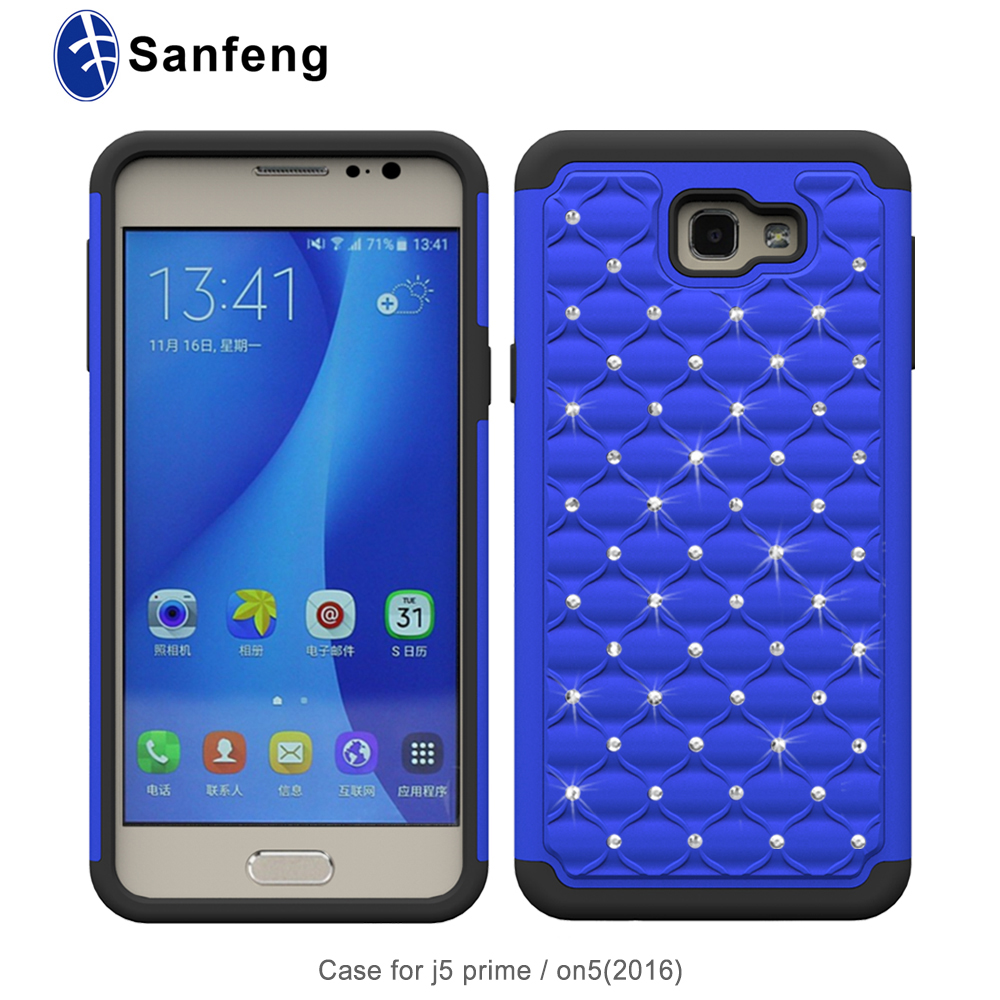 Manufacturer wholesale luxury shining diamond silicne pc cover mobile phone case for Samsung galaxy J5 prime