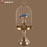 brass color iron material birdcages for home interior table decor
