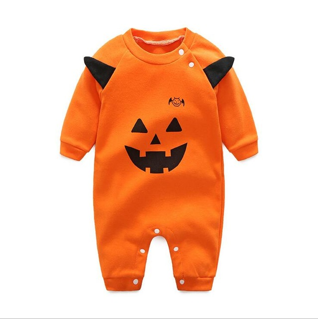 Halloween Pumpkin Ghost New Cotton baby infant boy girl rompers jumpsuit set clothing long sleeve Autumn Baby clothes 4 sizes