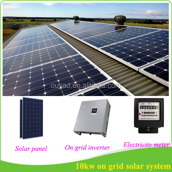 10 kw on grid solar panel system with grid tie solar inverter 10kw, solar electricity generating system for home