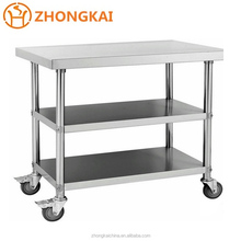 China Knocked down stainless steel work table party table with wheels caster Supplier