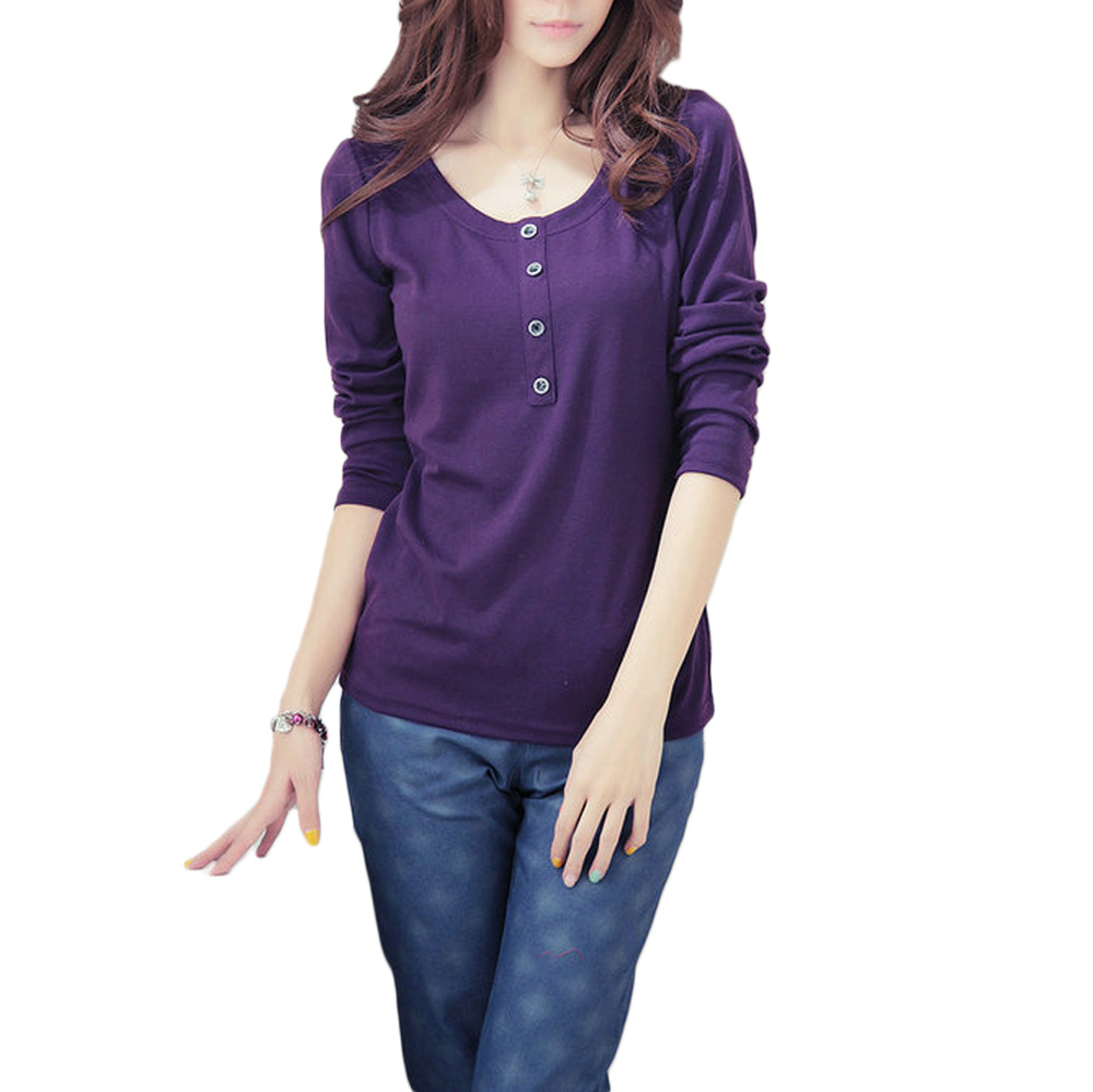 c999820a65a7e Get Quotations · t shirts Plus Size Womens Tops Long Sleeve Fashion O Neck  Button Decoration Women Casual tshirt