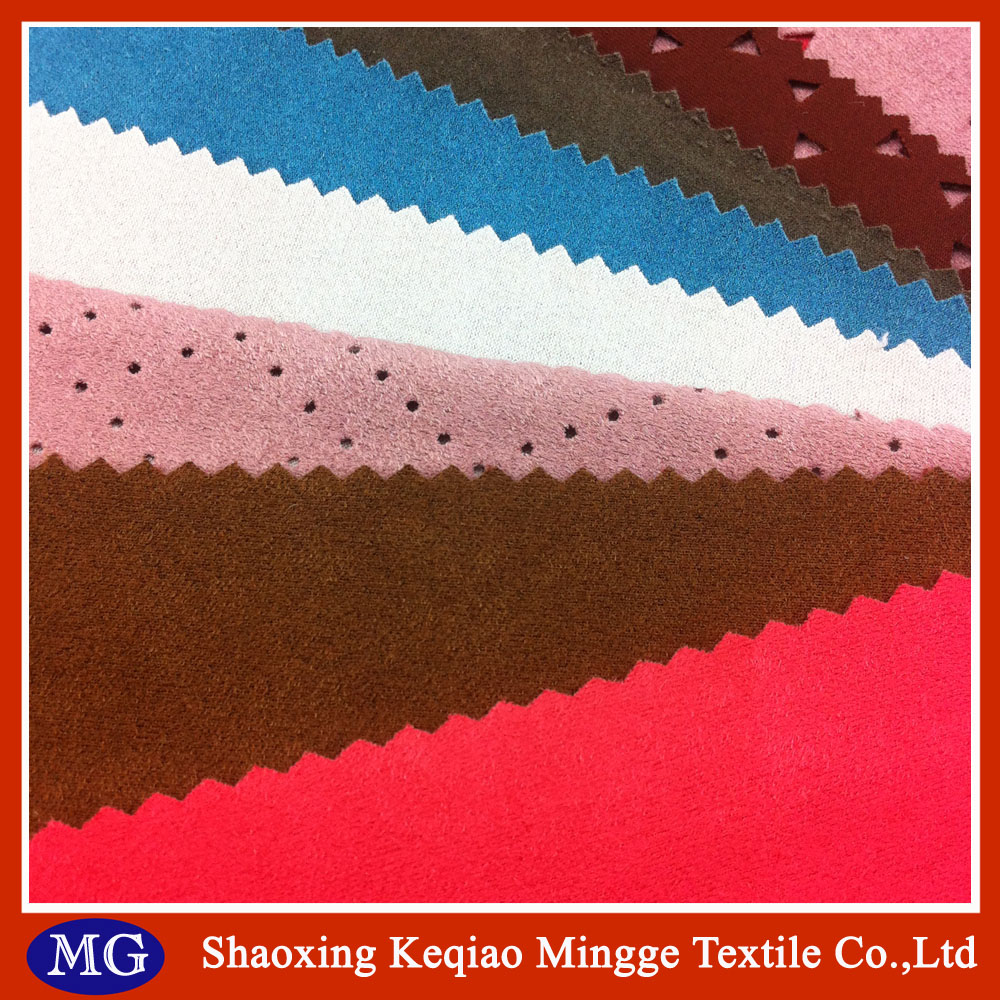 100% polyester weft brushed synthetic suede fabric