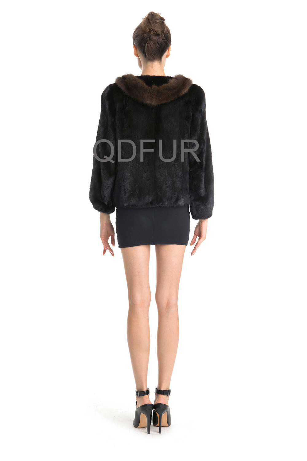QD70713 Extreme Womans Velvet Black Mink Fur Winter Jackets 2014