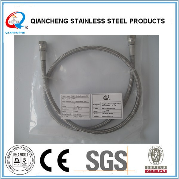 stainless steel wire braided export standard teflon tube for chemical lined