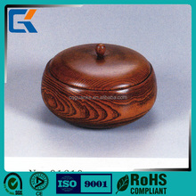 Hand carved natural wood round food bowl with lid
