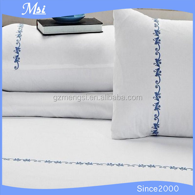 New Design Hotel White Embroidered Cotton Washable Pillow Case