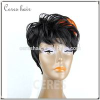 CERES hair silk top quality 100% malaysian human hair lace front wig with bangs
