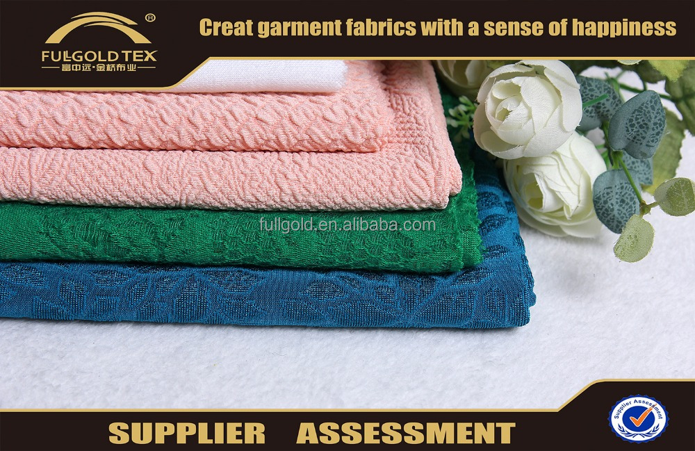 Wholesale good price polyester coarse crepe jacquard knit fabric in Shaoxing