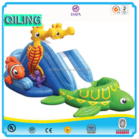 2016 QiLing child play sets kids slide amusement park children outdoor playground inflatable slide for sale