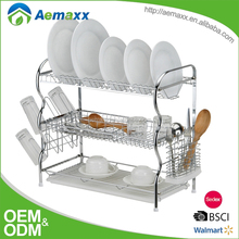 Modern design stainless steel and plastic kitchen cabinet dish utensil rack manufacturers