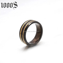 fashion design black plated none stone ring for party