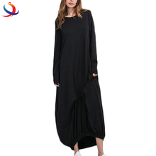 Women Long Sleeve Asymetrical Hem Dress With O Neck Loose Dresses Casual Vestidos