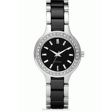 Black Silver Ceramic Quartz Ladies Bracelet Watch N8138