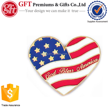 Custom 1 Inch Gold Plated Coloring Soft Enamel Heart Shaped Flag Pin