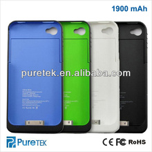 For iPhone 4 4S 4G 1900mAh External Rechargeable Backup Battery Charger Case Cover
