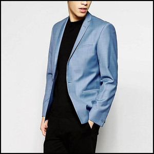 Newest Design Formal Dress Black Blazer Royal Blue Tri Tailored Suit