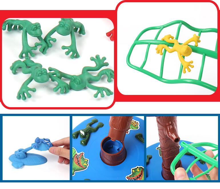Newest electric funny multiplayer jumping frog animal plastic toys on the tree