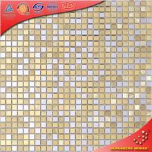 JZ1201 10*10mm Mini Square Gold Mix Silver Crystal Glass Mirror Mosaic Tiles