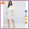 custom make crepe polyester plain white formal dress,pictures office dress for ladies