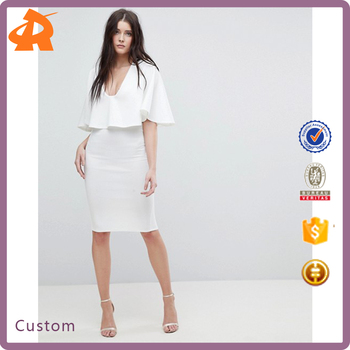 custom make crepe polyester plain white formal dress,office dress for ladies